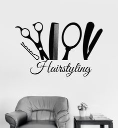 Vinyl Wall Decal Hairstyling Barber Tools Hair Salon Stylist Stickers (575ig)