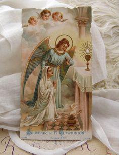 Angel Cherub First communion souvenir antique by LaPetiteTherese