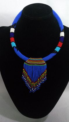 ON SALE Zulu necklace Beaded necklace African necklace African Beads Necklace, Beaded Choker Necklace, African Jewelry, Beaded Jewelry, Homemade Necklaces, Homemade Jewelry, Jewelry Making Beads, Afro, African Accessories