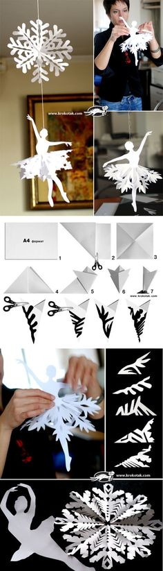 DIY Ballerina Snowflakes - love how they do the fold for the snowflakes... much better than my method!