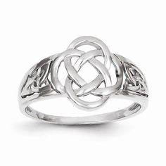 10k White Gold Polished Claddagh Ring Size 7 Length Width 3