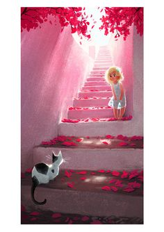 Stairway Print by Meg Park. Beautiful animation  and light, lovely child, whimsical too.
