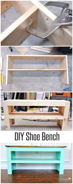 Free plans to build a shoe bench that will look great in your entry and keep all the shoes organized. Customize with paint and stain.