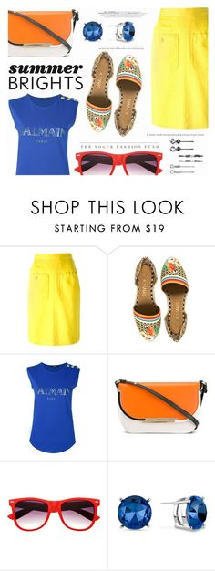 """Summer Brights"" by katarina-blagojevic ❤ liked on Polyvore featuring Yves Saint Laurent, Balmain, Salvatore Ferragamo, Kenneth Cole, Elle and summerbrights"
