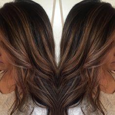 Ashy blonde highlights to add dimension for this dark haired girl. Balayage and foil combo. #buffalohair #buffalosalon
