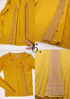 Refashion sweaters to cardigans
