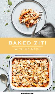 Baked Ziti with Spinach   Vegetarian Recipe   The Beachbody Blog Vegetarian Casserole, Healthy Casserole Recipes, Healthy Pasta Recipes, Spinach Recipes, Healthy Pastas, Vegetarian Recipes, Spinach Casserole, Vegetarian Lifestyle, Healthy Tips