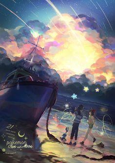 Pokemon Sun and Moon art by by Poppupantsu