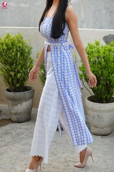 Buy Powder Blue and White Printed Crepe Kurti Online in India Casual Indian Fashion, Indian Fashion Dresses, Indian Outfits, Simple Kurti Designs, Kurta Designs, Blouse Designs, Indian Designer Suits, Kurti Designs Party Wear, Casual Dresses