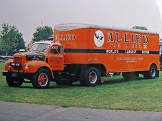 This is where Schneider got their color from. ALLIED VAN LINES - Vintage B Mack w/ Moving Van Trailer
