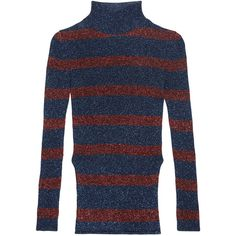 Cédric Charlier Striped metallic ribbed-knit turtleneck sweater (8.050.740 VND) ❤ liked on Polyvore featuring tops, sweaters, navy, navy turtleneck, blue turtleneck sweater, turtleneck sweater, navy sweater and navy blue turtleneck sweater