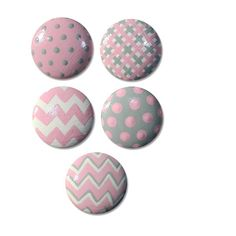 Hand Painted Kids Girls Chevron Dots and Gingham Drawer Knobs Nursery Cabinet Pulls by DoodlesDecor on Etsy