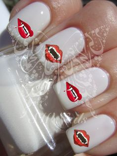 Nail Art Vampire Lips Fangs Water Decals Nail Transfers Wraps