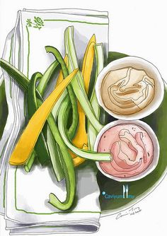 Ranch dressing and greek dip (colored) by cavidanny, via Flickr