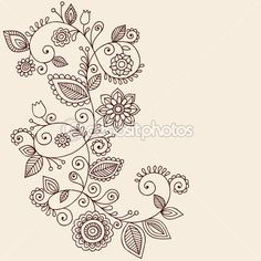 Paisley lace tattoo   Henna Tattoo Paisley Flowers and Vines Doodles Vector — Stock Vector ...