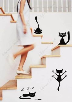 So cool for stairs!   Funny Cats set of 4  stickers playroom removable by ebaygiftshop, $16.00