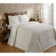 Enhance any bedroom in your home with this elegant three-piece bedspread set made of chenille cotton. Soft to the touch, this cotton bedspread set is warm and inviting. The geometric pattern adds a co Bedroom Setup, Master Bedroom, Bedroom Ideas, Ivory Bedroom, Bedroom Decor, Sage Bedroom, Dream Bedroom, Master Suite, Bedroom Makeovers
