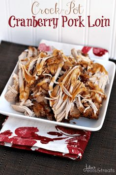 Cranberry Crock Pot Pork Loin Cranberry Crock Pot Pork Loin,Yummy Looking for easy pork recipes for dinner? Try this Crock Pot Cranberry Pork Loin. It's Savory Pork Loin slow cooked in a cranberry. Crockpot Dishes, Crock Pot Slow Cooker, Crock Pot Cooking, Pork Dishes, Slow Cooker Recipes, Cooking Recipes, Easy Recipes, Crockpot Meals, Sauce Recipes