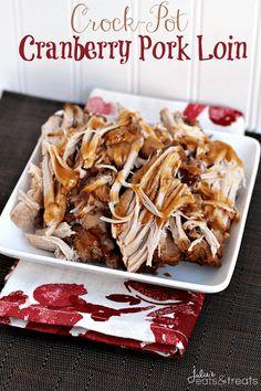 Crock Pot Cranberry Pork Loin ~ http://www.julieseatsandtreats.com
