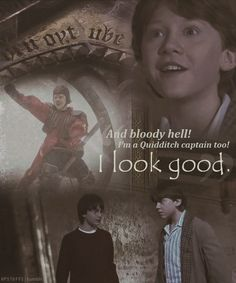 """Ron and Mirror of Erised. """"Bloody hell!  I look good!"""" Not quite quidditch captain, but the king is a great title"""