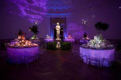 Blue uplighting, under table lighting, modern decor