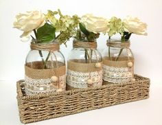 4 piece purlap and lace covered mason jar vases