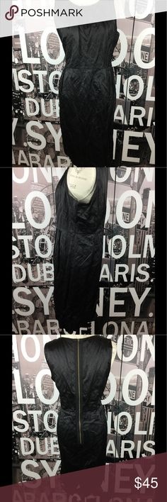 Eileen Fisher black shimmer sheath dress Stunning. Sorry for wrinkles. Just needs a good steam. Size large. Length 41 Bust 20.5 Waist 18.5 Hips 21.5 Eileen Fisher Dresses