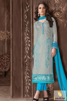 Formal party wear turquoise grey georgette nazneen salwar kameez is very beautifully embroidered. Buy this new style salwar dress for all the formal events. #salwarsuit, #embroiderydress more: http://www.pavitraa.in/store/embroidery-salwar-suit/
