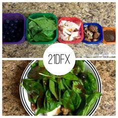 """Some people see the 21 Day Fix containers and think, """"I'm going to starve!!"""" This is the salad I made for dinner: spinach , blueberries 1/2 , chicken breast ❤️, cheese and almonds , and a balsamic vinaigrette.  It all barely fit in my bowl!  When you fill your body with REAL food, you won't starve...promise!  #21dfx #salad #portioncontrol #youwontstarve #promise #accountability #beachbody #21dayfix #autumncalabrese"""