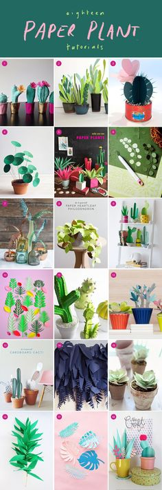 The 18 best tutorials on paper plants - Cactus DIY Flower Crafts, Diy Flowers, Paper Flowers, Flower Art, Diy Projects To Try, Craft Projects, Craft Ideas, Diy And Crafts, Crafts For Kids