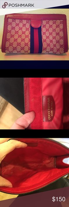 Vintage Gucci perfumes bag Great condition and super cute! Love the red. Stripe is navy blue. Gucci Bags Cosmetic Bags & Cases