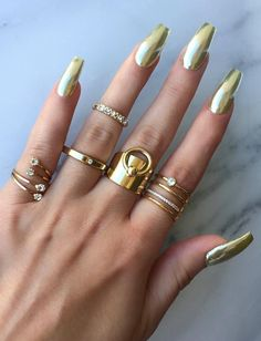 Chromed Out Nails by @chaunlegend Rings @queenpee