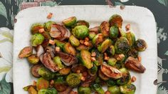 "Brussels Sprouts with Shallots and Salt Pork. I have no idea what ""salt pork"" is but I'm sort of digging the idea. Best Thanksgiving Recipes, Thanksgiving Side Dishes, Holiday Recipes, Thanksgiving Vegetables, Vegetarian Thanksgiving, Thanksgiving Feast, Holiday Foods, Pork Recipes, Vegetable Recipes"