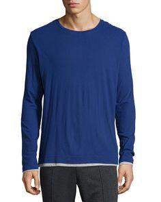 Double-Layer Crewneck T-Shirt, Blue - Vince