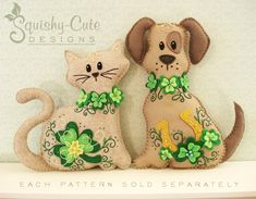 Cat Stuffed Animal Pattern - Felt Plushie Sewing Pattern & Tutorial - Shamrock the St. Patrick's Day Cat - Embroidery Pattern PDF. $5.00, via Etsy. (Or I could just use this image as inspiration and go for a DIY design!)