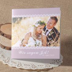 Lila Spitze Foto Hochzeitskarte Einladung OPL028