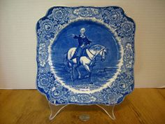 Blue and white George Washington square plate