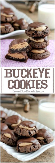 Buckeye Cookies - a chocolate brownie cookie base, topped with peanut butter balls, all covered in chocolate! These are insanely delicious! on MyRecipeMagic.com