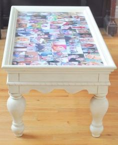 One Mom with a Mission: Family Picture Collage Coffee Table Put glass on top of pics so you can change out photos if needed. Home Crafts, Fun Crafts, Diy Home Decor, Diy And Crafts, Family Picture Collages, Picture Table, Picture Frame, Photo Displays, Display Photos