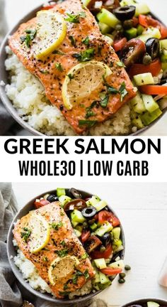The whole family will love this incredibly light and flavorful Greek salmon recipe It s served with a play on traditional Greek salad and paired with steamed cauliflower rice Gluten free low carb paleo and compliant salmon lowcarb paleo Seafood Recipes, Diet Recipes, Healthy Recipes, Salmon Low Carb Recipes, Lunch Recipes, Healthy Greek Recipes, Whole30 Salmon Recipes, Easy Whole 30 Recipes, Primal Recipes