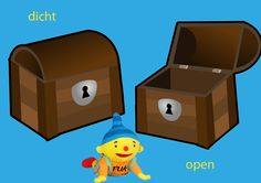 Rekenprikkels - Tegenstellingen - dicht, open Dutch Language, Speech And Language, Cool Kids, Toy Chest, Education, Dozen, School, Fun, Illustration