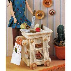 Butcher Block Basics Rolling Cart Knives & Knife Holder Barbie Fashion Doll Plastic Canvas Patterns