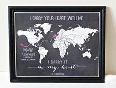 CUSTOM Valentines Long distance relationship love print     -would be cute for our travels!-