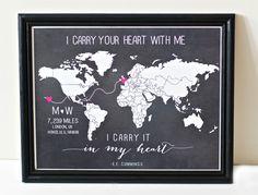 Long distance relationship love world map print
