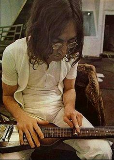 """Go, Johnny, go!""     John Lennon's lap steel guitar solo for George's ""For You Blue""  Let It Be sessions, January 25, 1969"