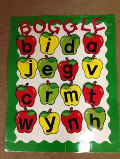 Adorable idea for a boggle board and a free recording sheet