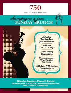 Bottomless champagne with Sunday brunch? Yes, please.       http://www.sanfranciscohiltonhotel.com/pdf/champagne-jazz-sunday-brunch-menu.pdf