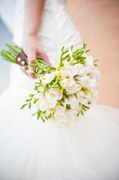 16 Stunning Summer Wedding Flowers---green freesia and white rose bridal bouquet for spring or summer garden weddings Freesia Wedding Bouquet, White Wedding Bouquets, Bride Bouquets, Bridesmaid Bouquet, Blush Bouquet, Bridesmaids, Flower Girl Basket, Decoration Table, Bridal Flowers