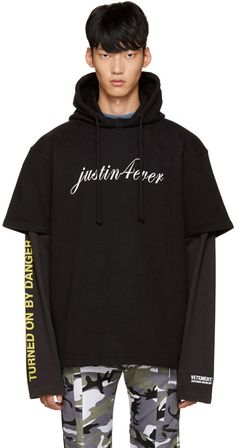 Vetements Black 'Justin Forever' Double Sleeve Hoodie
