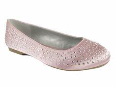 Mia Fashions Pink Crystal Ballet Flats